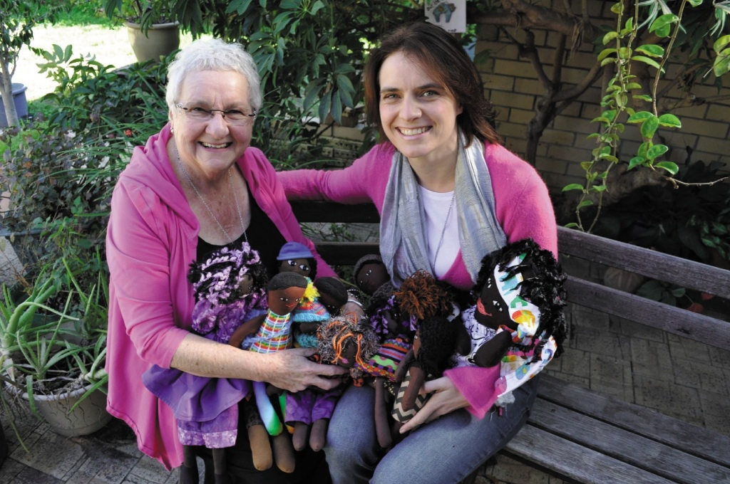 Marlene Rozentals and her daughter Natasha Yorke with some of the dolls they have made.