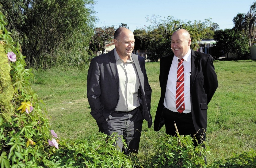 Housing Minister Colin Holt with DHA's Mark Turtle at the Claremont lot last week. Picture: Jon Bassett