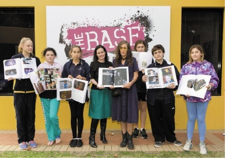 Fiona Lander (Perth Airport, middle left) with World Press Photo winner Brenda Ann Kenneally (middle, right) and students from the City of Belmont Youth Centre.