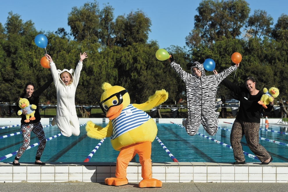 Pictured having fun in their PJs are swim school manager Naomi Dunn, Kerri Graham, Dippy Duck, Jayme Sewell and Ilona O'Sullivan.
