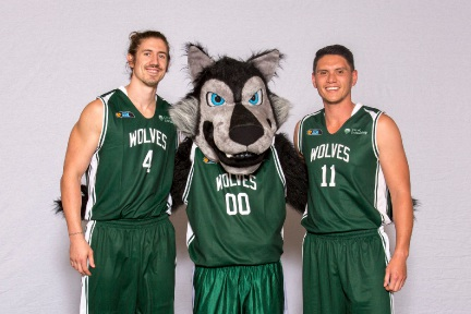Greg Hire and Seb Salinas with new mascot Wally Wolf. Picture: Serene Maisey