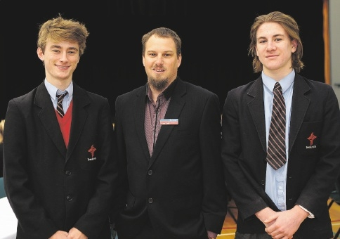 Harry Tatchley, careers co-ordinator Jason Todd and Joshua Long. Picture: Martin Kennealey        www.communitypix.com.au   d439746