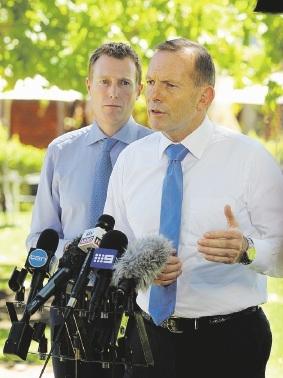 Former Prime Minister Tony Abbott, seen here with Federal Member of Pearce Christian Porter