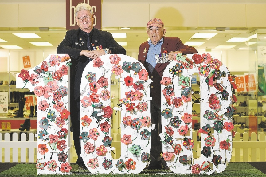 Nollamara RSL membership officer Greg Smith and president Spunky Fieldhouse with Mirrabooka Square Shopping Centre's tribute to veterans.          d436466