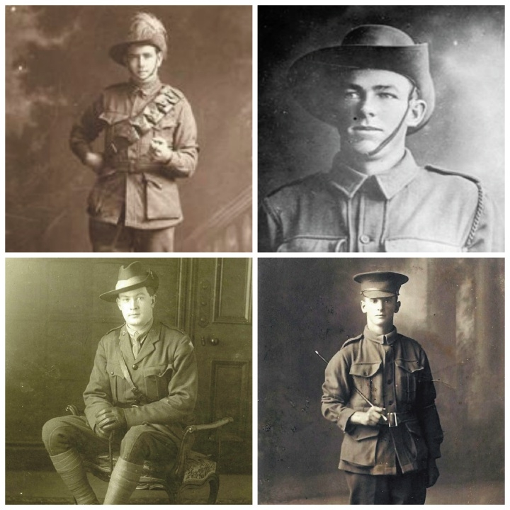 Four of the Fremantle men who fought during World War I