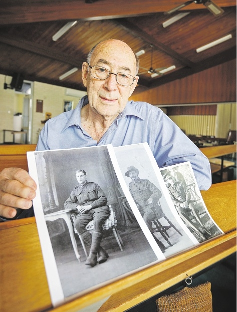 All Saints warden John Whitton with pictures showing some members of the Blacklock family. Picture: David Baylis www.communitypix.com.au   d436423
