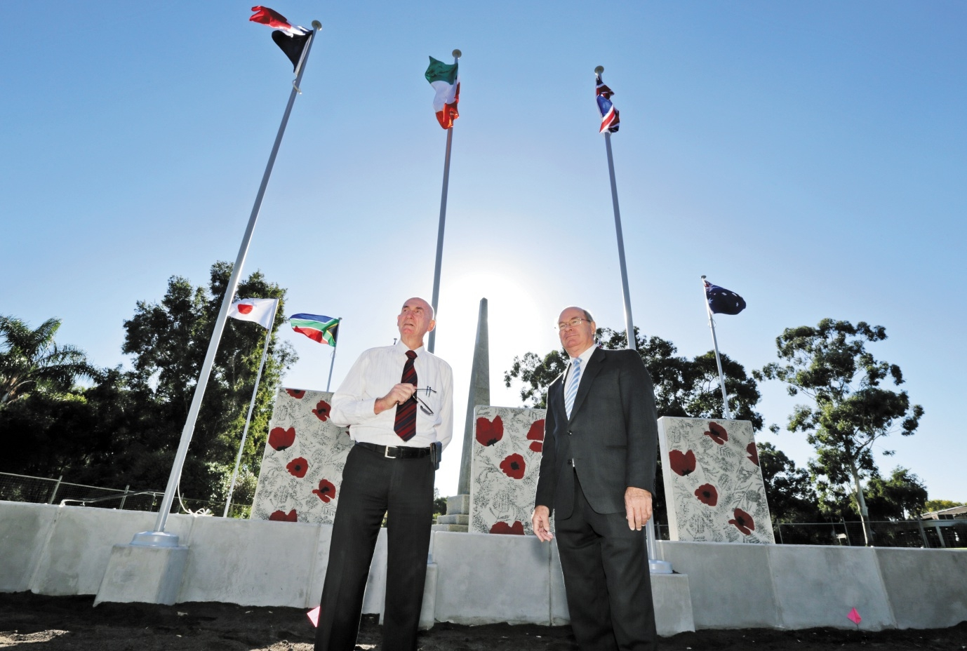 Mr Richardson with City of Belmont Mayor Phil Marks at the re-dedicated memorial. Picture: David Baylis d435764