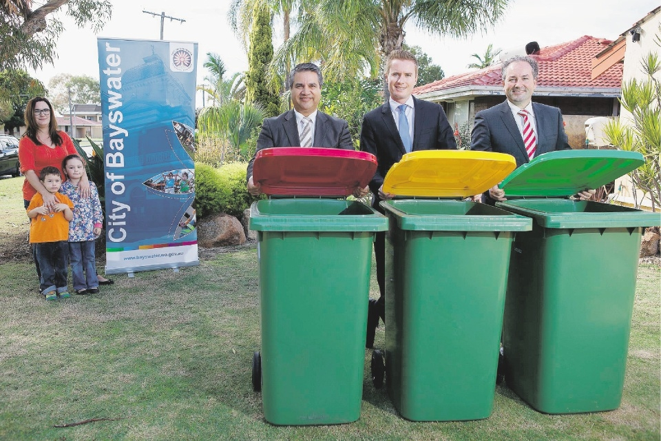 Kylie Gollan and her children Cooper (4) and Olivia (6), City of Bayswater Mayor Sylvan Albert, Environment Minister Albert Jacob and Waste Services Authority chairman Marcus Geisler.