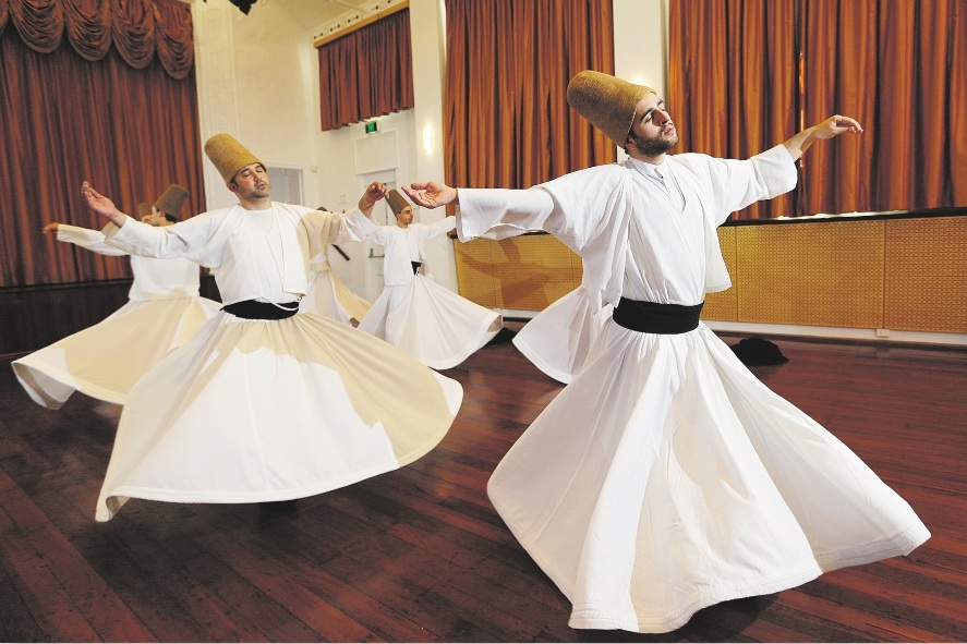 Tradition: Members of the Whirling Dervish Dancers of Istanbul doing their thing. Picture: Marcelo Palacios        www.communitypix.com.au   d436264