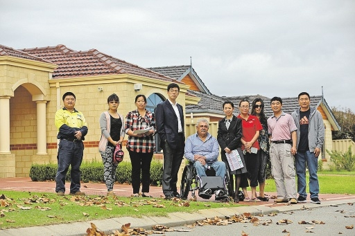 City of Gosnells councillors Pierre Yang and Wayne Barrett (centred) with a group of concerned local residents.