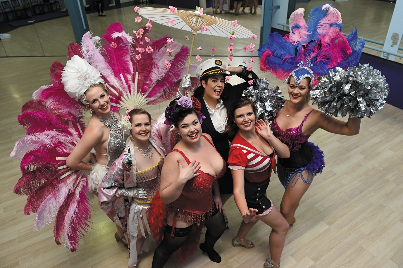 In the centre is Laura Young (Churchlands) as Sugar du Joure with, from left, Sarah Rutherford (Wungong) as Bambi, Keren Schlink (Wembley Downs) as Lola Moore, Sylvia Sippl (Scarborough) as Lucinda Panties, Clara Loveny (Perth) as Lady Pussyfoot and Emily Cairns (Swanbourne) as Candy Cheeks. Picture: Marcus Whisson  d435978