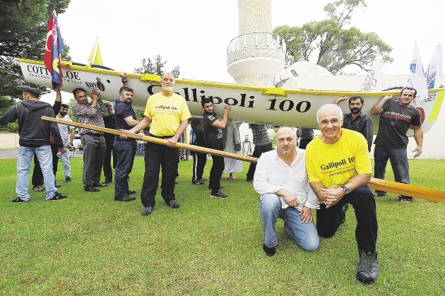 At front is Turkish Islamic Association of WA president Huseyin Aksakal and Cottesloe Surf Life Saving Club member Tom Locke, with sweep Rob Turner and men from the Suleymaniye Mosque in Queens Park. Picture: Marcus Whisson www.communitypix.com.au   d436199