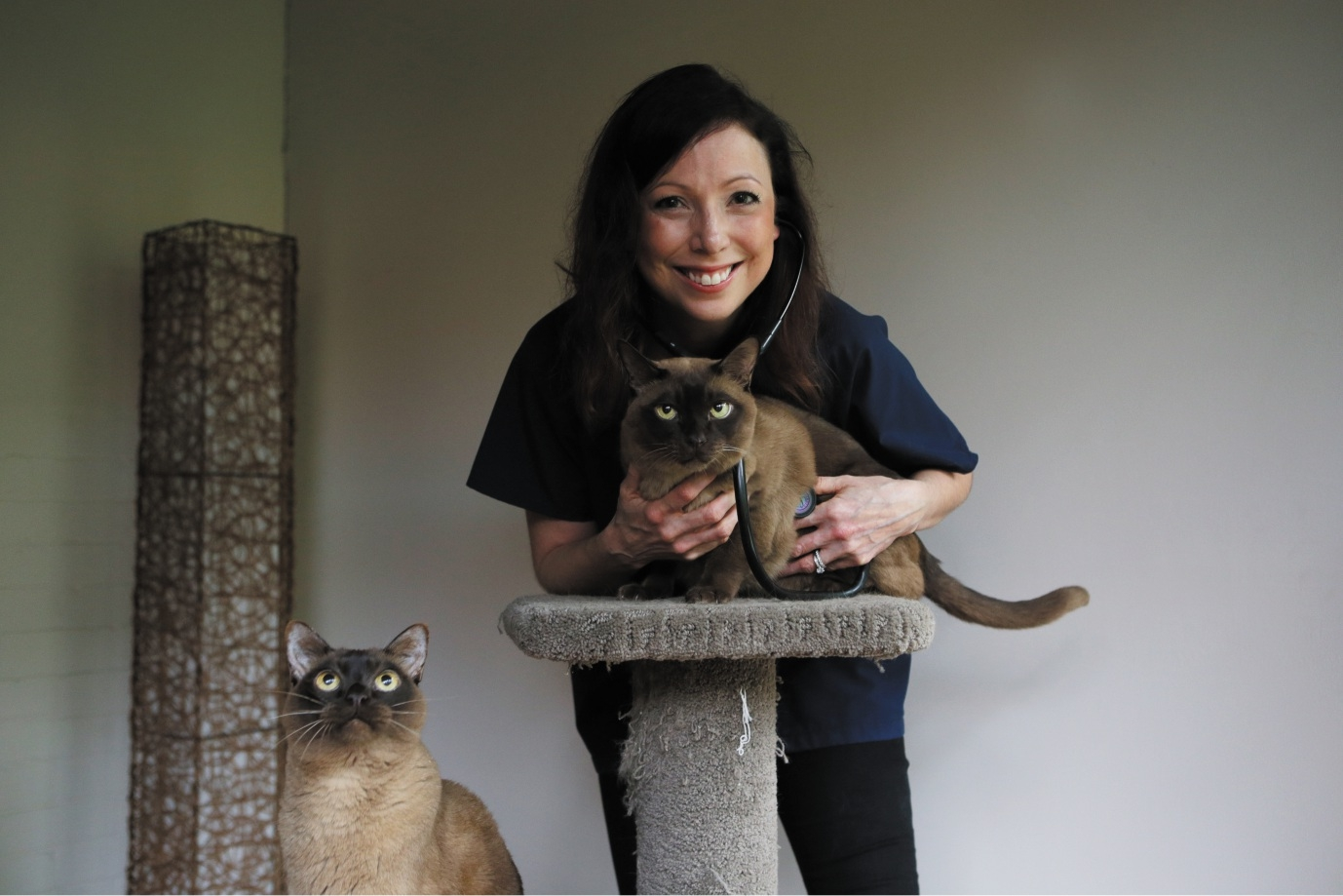 Dr Martine van Boeijen with her cats Eddie (being held) and Rollie.