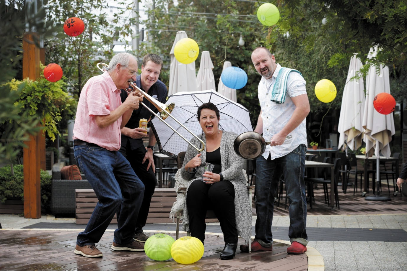 Roy Burton from the Jazz Cellar, Jon Randall from the Paddo, Natalie Upson from Mt Hawthorn Hub and Festival Food coordinator Iain Lawless get ready for the festival. |Picture: Andrew Ritchie          d436100