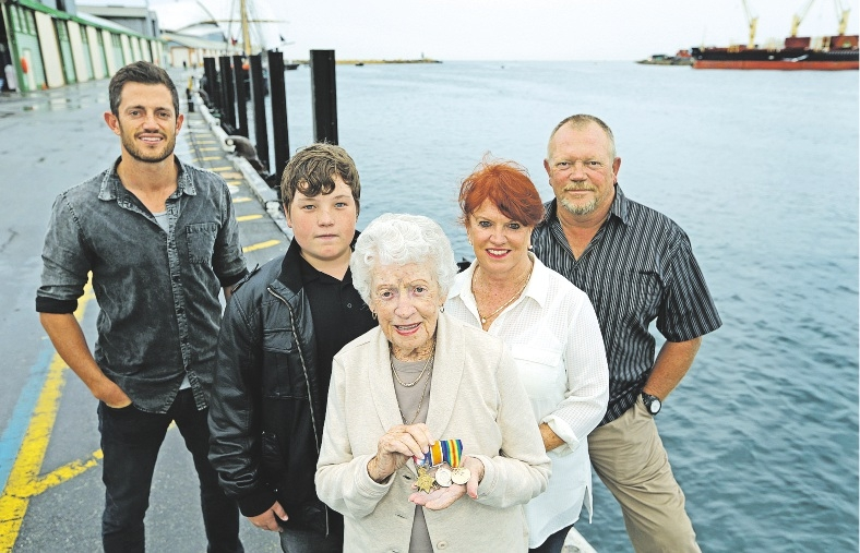 Ralph Rutherford's great-grandson Mack Reid, great-great-grandson Jacob Dutton, daughter Marie Reid, grandaughter Marian Byfield and grandson Steven Reid. Picture: Martin Kennealey        www.communitypix.com.au   d435839