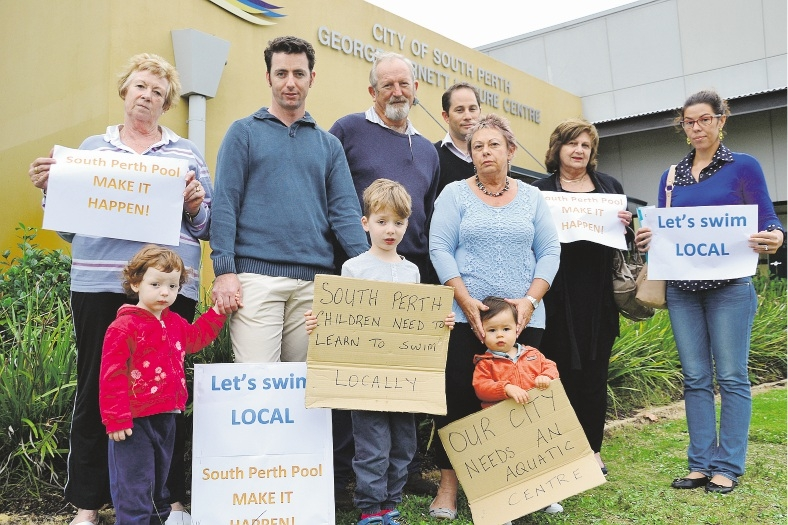 City of South Perth residents, including Jamie Cook with children Perry and Tim, gather to demand that an aquatic facility be built at George Burnett Leisure Centre. Picture: Tim Mayne