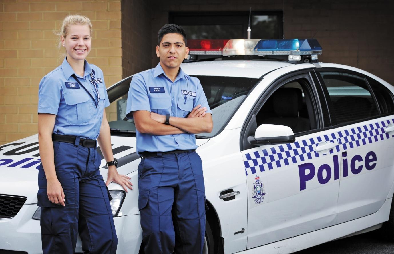 Police cadets Nikki Amphlett and Akash Verma at Kensington Police Station. Picture: David Baylis d436077
