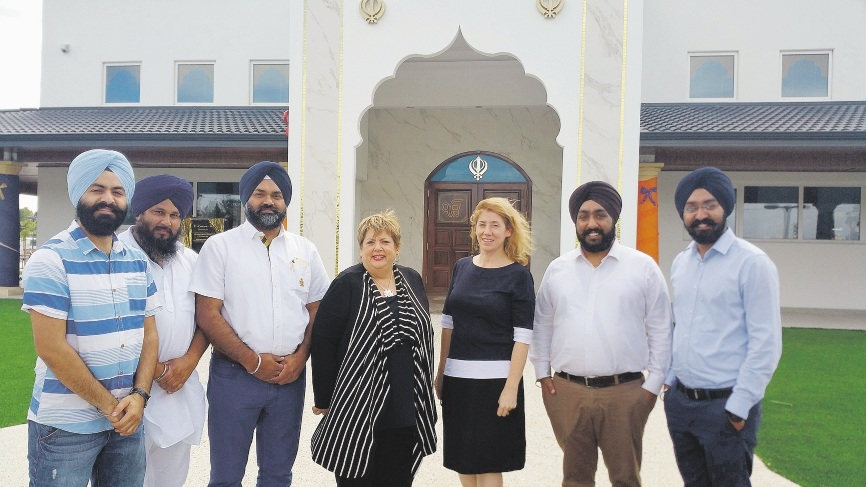 Citizenship and Multicultural Interests Opposition spokeswoman Margaret Quirk and West Swan MLA Rita Saffioti with members of the Sikh community.