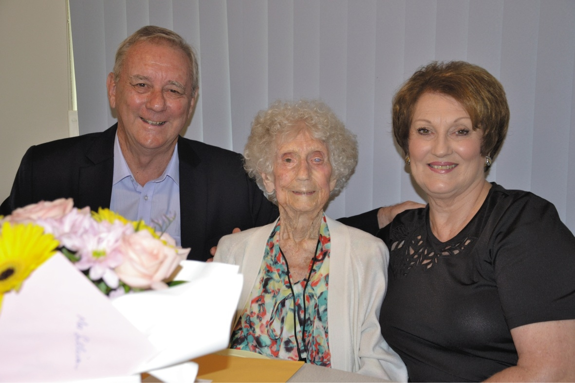 Jean Sullivan celebrating her 100th birthday with children Ken and Barb.