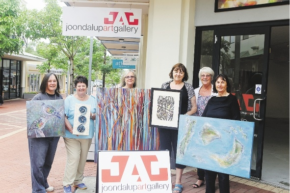Artists Ros Blackburn, Val Cave, Gail Leidich, Anne Muller, Eva Boogaard and Marilyn Hamilton with some of their works for the upcoming Earth Matters exhibition.