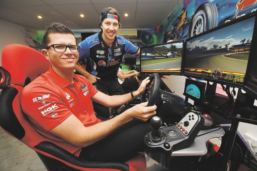 V8 Supercar drivers Garth Tander and Chaz Mostert at Ignition Racing Wangara.