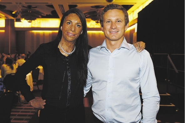 Turia Pitt with her partner Michael Hoskin. Picture: Marcus Whisson www.communitypix.com.au  d435833
