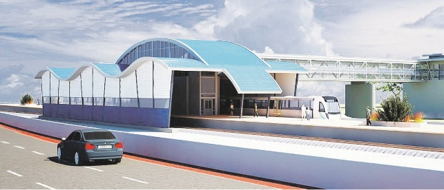 An artist's impression of the new train station.
