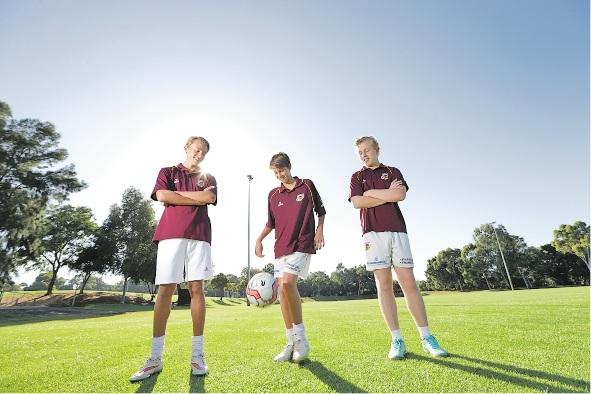 Players Alon Ridgard (14), Jack Bardsley (15) and Teo Brown (15).