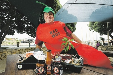 Darryl Anglesey is dressed the part for the Chilli Festival on Saturday.  Picture: Emma Goodwin  www.communitypix.com.au   d435878