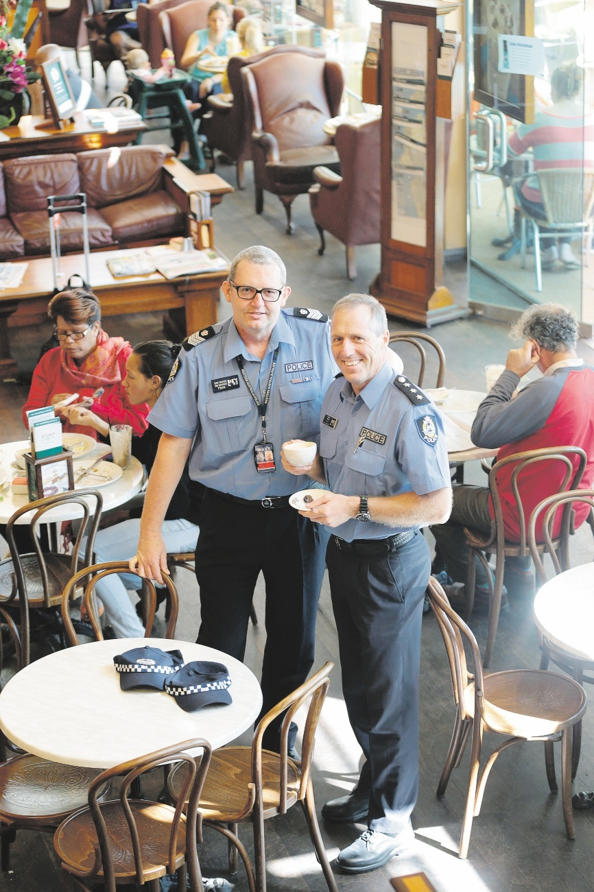 Armadale Station officer-in-charge Sen Sgt Mark Tobiassen with assistant district officer South East Metro Inspector Mark Ridley.  d436436