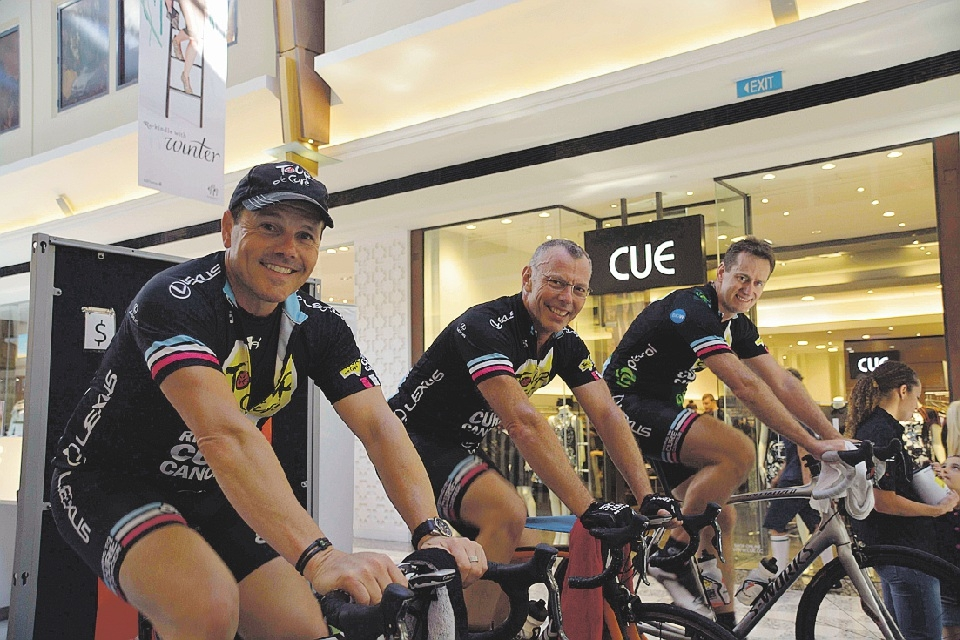 Richard Vause, Simon Thomas and Geoff Bell at the launch of Tour de Cure.