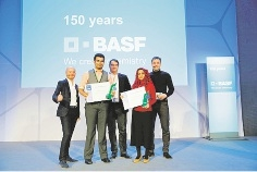Ashiwin and Sofia receiving their prize from senior BASF executives, Dr Sébastien Garnier, Dr Harald Lauke and Dr Stefan Dreher.