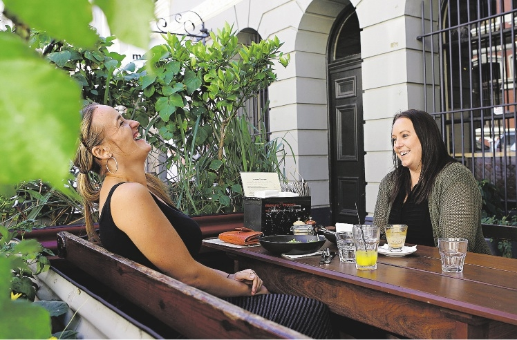 Donna Perfect, of Spearwood, and Leanne Loveless, of Redcliffe, enjoy alfresco dining. Picture: Elle Borgward          d435265