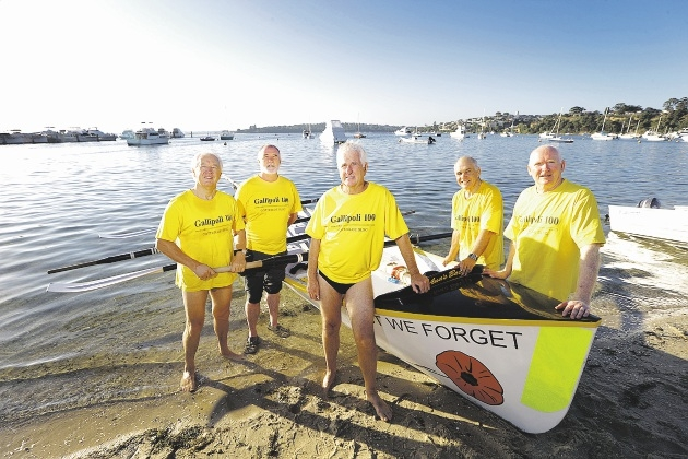 Ian Earl, Rob Turner, Ian Johnson, Tom Locke and Mike Vranz with the Cottesloe SLSC Gallipoli 100 race surf boat.  Picture: Andrew Ritchie www.communitypix.com.au   d435518