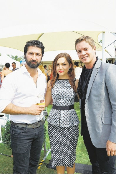 Packed to the Rafters actor George Houvardas with Home and Away stars Kelly Paterniti and Johnny Ruffo.