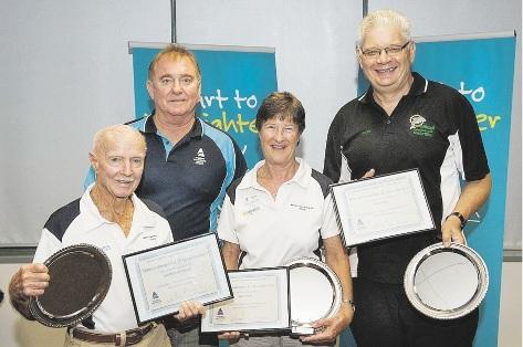 Sue Pow (centre) alongside fellow winners Gordon Medcalf and Ron Gray and MSWA President Gary Bradley.