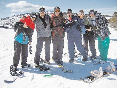 James Gray, Aron Crowhurst, Paul Gersbach of Busselton, Brian Gillett, Jared Millist and Darren Sawyer at Perisher ski resort after their brave act.
