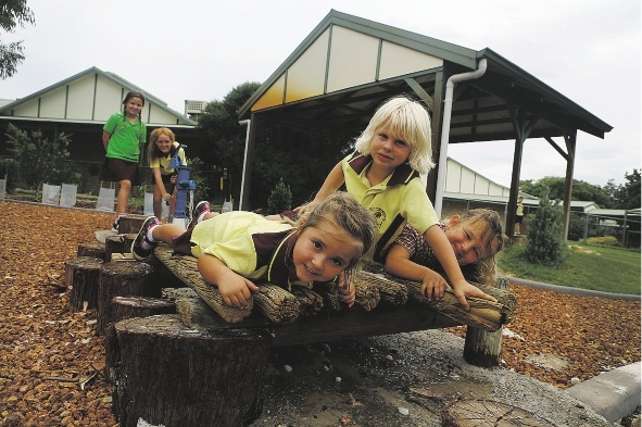 Front: Emily Vine, Taj Weston, Eden Ramsay and back: Niamh Ramsay and Alex Phipps enjoying Connolly Primary School's new natureplay space. Picture: Emma Goodwin        d433313