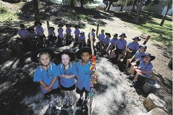 Yanchep District High School Year 2 students using the talking circle.  Picture: Emma Goodwin    d435390
