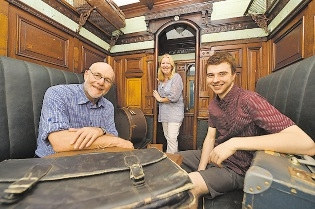 Mel Shead, Roslyn Park and Jordon Prince-Wright in a old railway carriage.