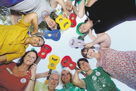 The Rainbow Ukulele Group meets at the North Coastal Women's Shed, thanks to a Sprout Hub grant.
