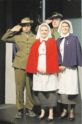 Quinns Rock resident Ellie Bawden, in red, plays a nurse in Garrick Salutes Gallipoli with Ben Anderson, Tim Sadlier and Colleen Bradford. Picture: Mulder Photography