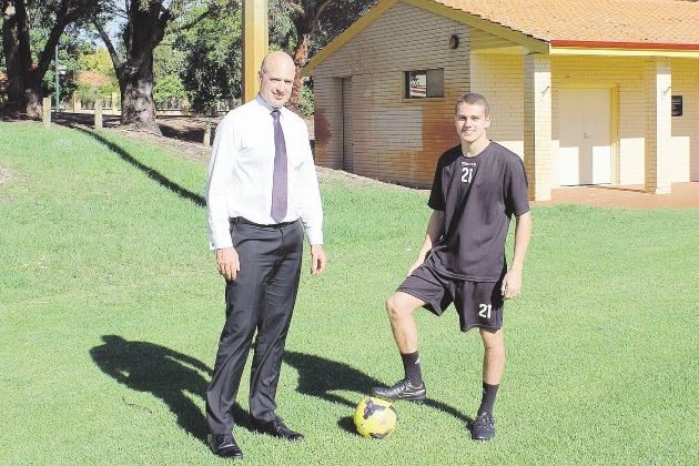 Alfred Cove MLA Dean Nalder and promising soccer star Eric Birighitti.