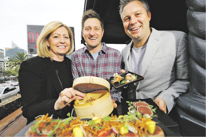 Lord Mayor Lisa Scaffidi, Andy Freeman and Scott Taylor celebrate Eat Drink Perth with a veritable feast of tasty delights to tempt the palate.