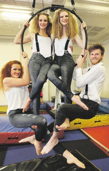 Sliders Youth Circus performers Ella Norton, Phoebe Ingleson, Elliza Skinner and and Tim Simpson. |Picture: Martin Kennealey
