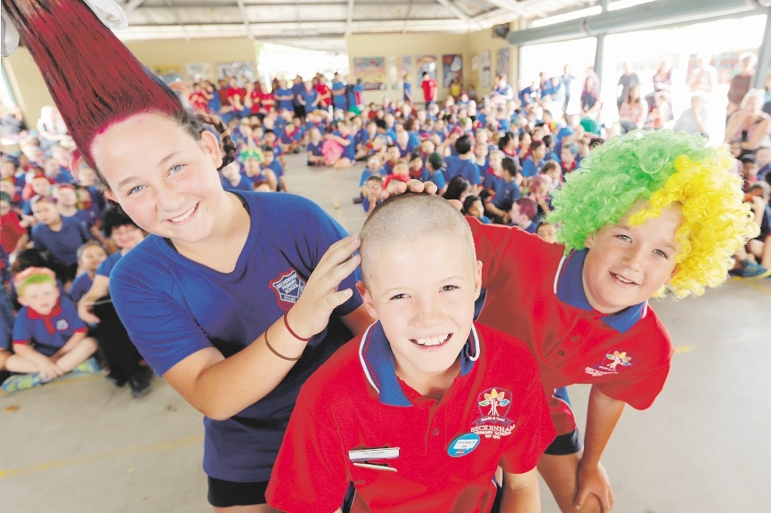 "Beckenham Primary School's Nakisha Kingi, Taj Hewitt and Liam McCosker at the ""crazy hair"" day. Picture: Marcelo Palacios"