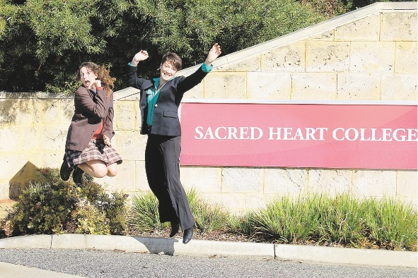 Sydnee Carter and Head of Year 11 Sandra Manning celebrate after Sydnee's audition for The X Factor last year.