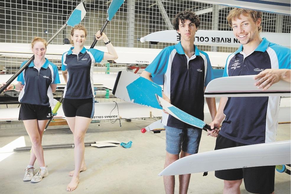 Rowers Anna Thornton, Kate Farley, Rhys Bennetts and captain Daniel Foucar. Picture: Marcelo Palacios