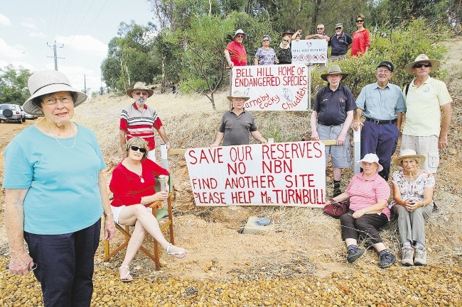 Friends of Bell Hill Reserve committee member Rhonda Walsh and local residents are opposed to a planned NBN tower in Bindoon. Picture: Bruce Hunt