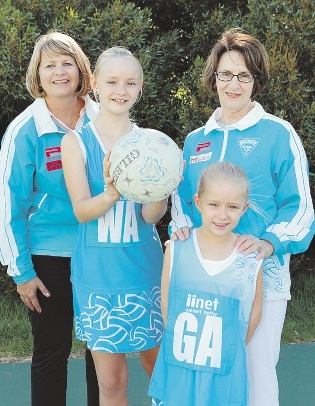 Club president Lana Glogowski, current players Charlotte (11) and Maya (6) Robertson and inaugural president Molly Rodgers.